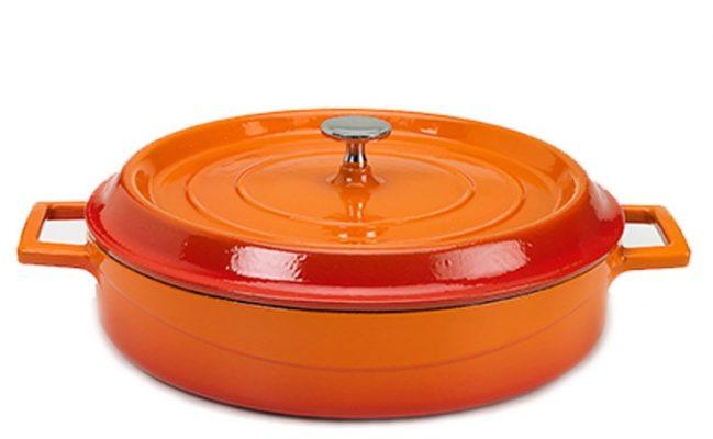 Slowcookgryta, rund, låg orange, Ø 28 cm, Pentole Agnelli
