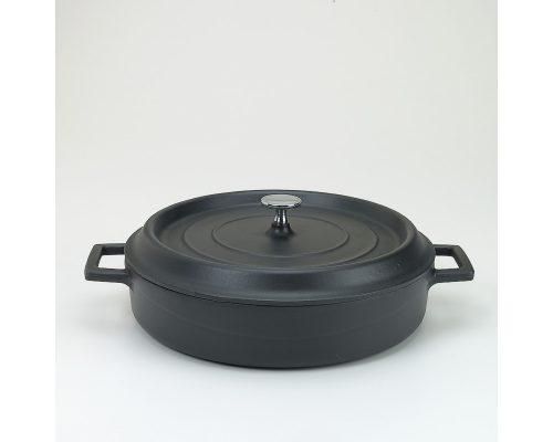 Slowcookgryta, rund, låg mattsvart, Ø 28 cm, Pentole Agnelli