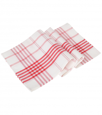 Handduk, 6-pack (Vit/Röd Rand), Segers