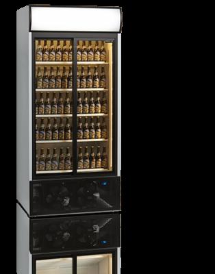 Kylskåp med glasdörr, energisnålt, 2 skjutbara dörrar, Tefcold