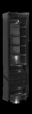 Flaskkyl med LED-belyst glasdörr, svart utförande, 372 L, Tefcold
