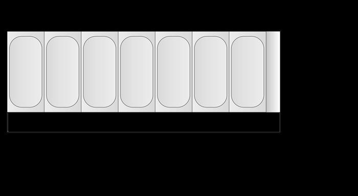 Glassdisk, plats för 7 kantiner, Tefcold