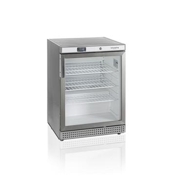 Kylskåp med glasdörr, rostfritt stål, 130 L, Tefcold