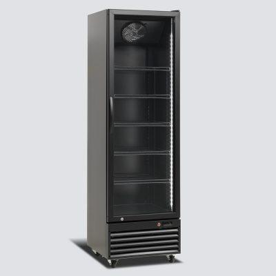 Kylskåp med glasdörr, svart, 396 L, Scancool