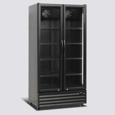Kylskåp med hängda glasdörrar, svart, 838 L, Scancool