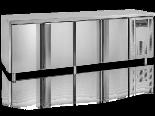 Kylbänk, 60 cm djup med 4 dörrar, 480 L, Tefcold