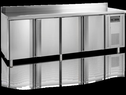 Frysbänk, 60 cm djup, 4 dörrar, med stänkskydd, 480 L, Tefcold