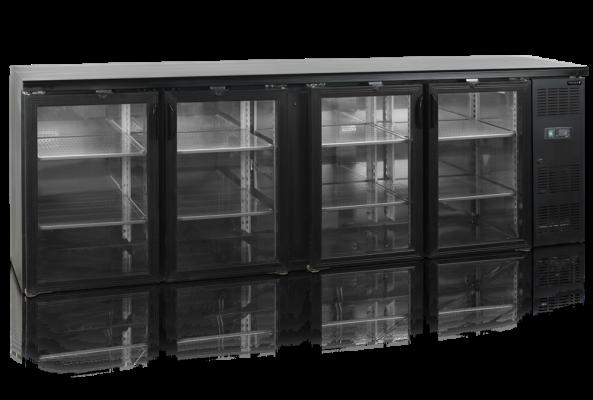 Barkyl med insida i rostfritt stål, 4 hängda glasdörrar, höjd 86 cm, 630 L, Tefcold